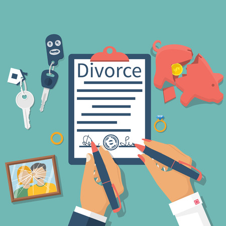 Divorce concept. Meeting husband and wife to sign agreement divorce papers. Property division: money, car, house. Vector illustration flat design. Form signed, stamp. Broken picture. End of marriage.
