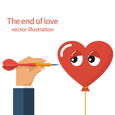 loveless: The end of love, concept. Unhappy love, divorce, crisis relationship, metaphor. Vector illustration flat design, isolated. Man holding a dart in hand threatening to pierce heart. Comic sad face. Illustration