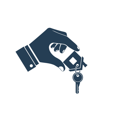 House key in hand icon. Real estate agent holds the key from home. Concept of selling, renting template.  Vector illustration flat design. Silhouette, pictogram.