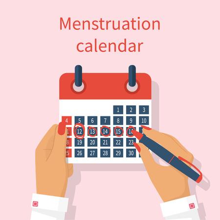 カレンダーの月経周期で女性のノート。月経周期カレンダー手に女性。毎月の期間。カレンダーを作成します。ベクトル イラストのフラット デザイ