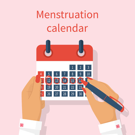Woman notes in the calendar menstrual cycle. Menstruation calendar in hand female. Monthly period. Write calendar. Vector illustration flat design. Isolated on background. PMS.