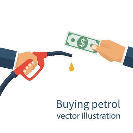 Buying petrol, concept. Payment for fuel. Fuel pump in hand man in exchange for money. Petrol station. Vector illustration flat design style on a white background. Template for gasoline prices. Stock Illustratie