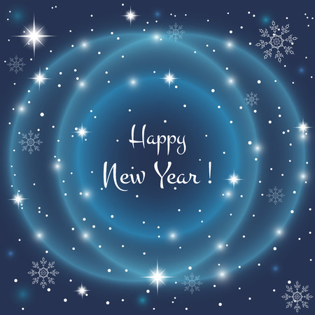 Neon Abstract blue background with crystal snowflakes and snow. Bright stars shine, shine. It can be used as an invitation, poster, banner, greeting the New Year, Christmas. Vector illustration. Illustration