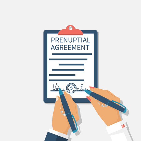 formal signature: Man and woman sign prenuptial agreement. Newlywed couple enters into legal contract certified signature. Agreement marriage. Husband and wife. Vector illustration flat design. Clipboard to document.