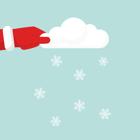 Santa Claus makes Blowing Snow holding cloud in hand. Shake cloud, the falling snow. Vector illustration flat design.Isolated on background.