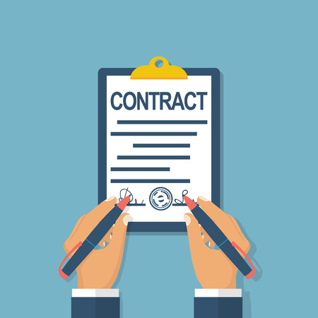 legal contract: Two businessman signs a contract partner. Legal paper document with signature and stamp on clipboard. Vector illustration flat design. Pen in hand. Symbol of successful cooperation. Business concept.