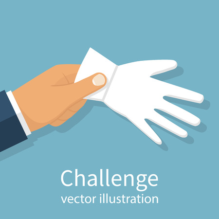 sports symbols metaphors: Man businessman holding a white glove in hand to challenge. Strength test. Challenge to duel. Vector illustration flat design. Isolated on background. Illustration