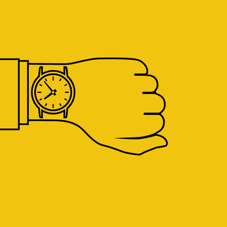 Wristwatch on hand of businessman in suit. Time on wrist watch. Man checks time on clock, control. Hand with clock isolated on background. Flat minimal design outline, vector illustration.