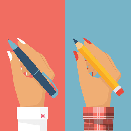 Pencil and pen in women hand, set. Female holding pen isolated, write, draw. Vector illustration, flat design. Writer, journalist, student. Businesswomen. Illustration