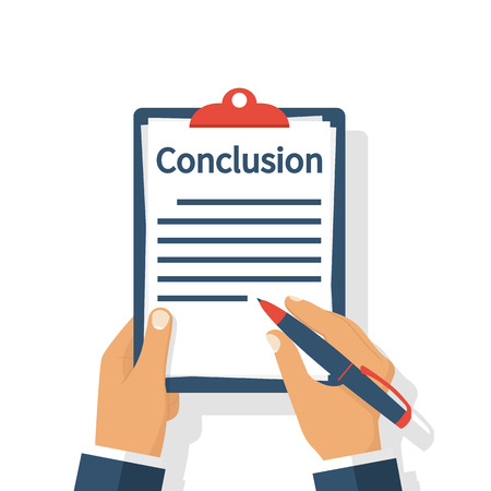 Businessman writes conclusion, report concept. Paperwork, sheets in folder. Holding the clipboard and pen in hand. Finally, outcome, result. Vector illustration flat design. Isolated on background. Illustration