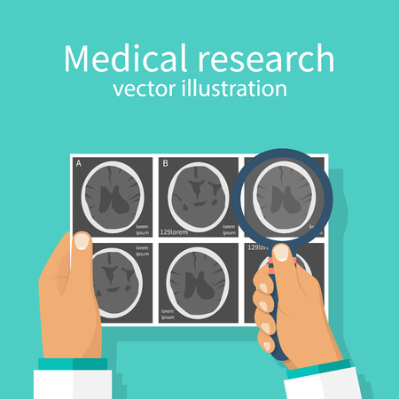 Medical research concept. CT-scans, X-ray human head brain images  in doctor hand. Diagnostic Laboratory. Studying analysis. Vector illustration flat design. Attentively examines MRI scan.