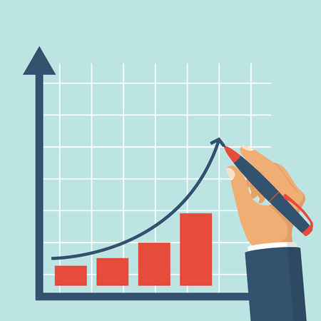 Growth graph concept. Businessman draws a chart of financial growth. Vector illustration flat design. Profit Stock Market.