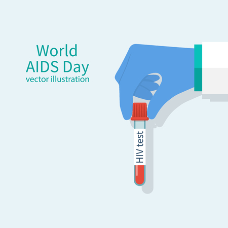 aids virus: Doctors hands holding blood sample in glass tube for HIV test. World AIDS Day concepts. Sample blood for screening. Laboratory research. Vector illustration flat design. Isolated on white background.
