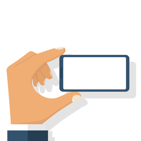 horizontal position: Smart phone in man hand. Horizontal position. Easy to edit, objects in layers. Vector illustration flat design. Isolated on white background. With blank white screen. Mobile smartphone digital device.