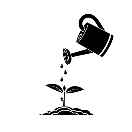 Watering can, black silhouette on white background. Drops of water on young seedling. Watering seedlings icon. Vector illustration flat design. Tools for the garden. Plant sprout.