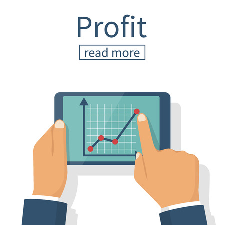 Profit growth, investment concept. Increase in profit. Man hold in hands tablet with business chart. Market analytical data. Businessman analyzing stock market. Financial diagram. Vector flat design.