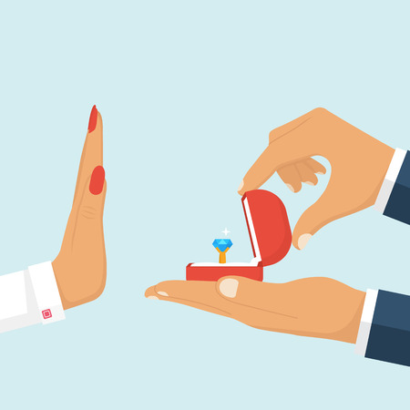 wedding ring: Rejecting a marriage proposal. Man is holding in hand an open box with a wedding ring and diamond.  Woman gesture rejects the proposal. Vector illustration flat design. Isolated on white background. Illustration