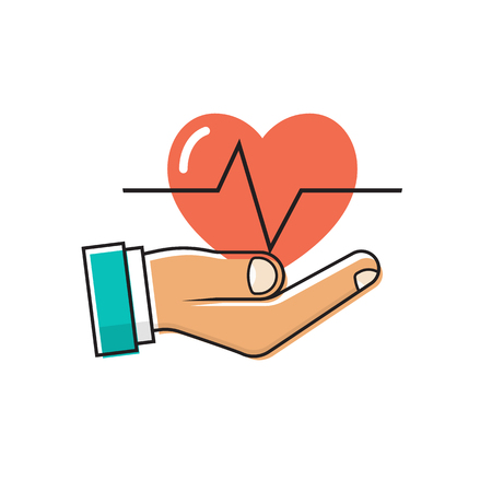 Doctor holding a heart in hand. Векторная Иллюстрация