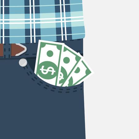 Money in pocket. vector Illustration