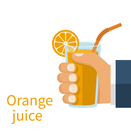 Orange juice in a glass cup hold in hand Illustration