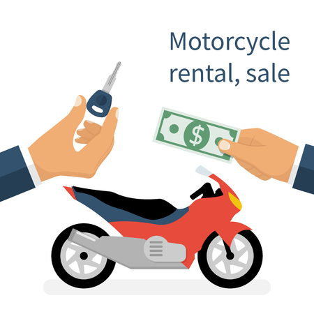 rental: Motorcycle sale, rental motorbike Illustration