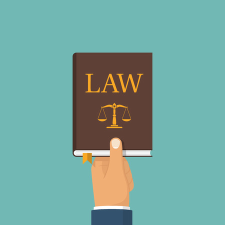 Judge, lawyer holding Law book in hand. Concept of justice. Balance on book. Legal documentation. Cover. Vector illustration flat design. Icon isolated on white background.  イラスト・ベクター素材
