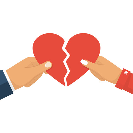 Man and female holding two halves of broken heart on white background. Breakup heart concept. Crisis relationship divorce. Unhappy love, conflict. Vector illustration flat design.