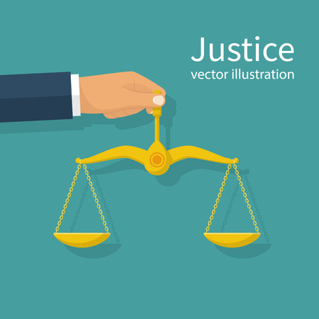juridical: Weight scales justice hold in hand judge. Law and justice concept. Vector abstract illustration flat design. Isolated on background.