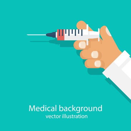 flu shot: Syringe in doctor hand. Flu shot  vaccination. Injection syringe. Medicine healthcare concept. Vector illustration flat style design. Medical background. Treatment poster immunization.