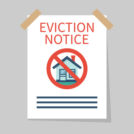 Eviction notice, white sheet on wall. Stop sign at the entrance. Do not open the door. Form vector illustration flat design. Isolated background.