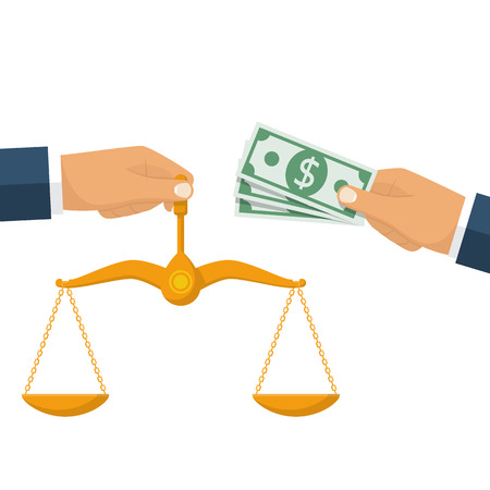 Corrupt judgment concept. Bribery judge. Corruption. Businessman gives money, judge holding scales of justice. Vector illustration flat style design. Isolated on white background. Pay law.