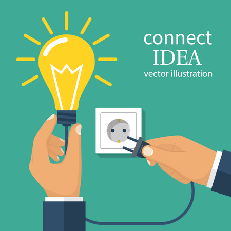 Connect idea. Business team holding lightbulb, cord electrical plug connected to power outlet. Plug in to wall socket. Collaboration solution. Vector illustration flat design. Isolated on background.