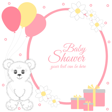 Baby shower girl, invitation card. Place for text.  Greeting cards. Vector illustration. Cute teddy bear with gift boxes, balloons, flowers. It can be used as a poster, banner, template. Stock Photo
