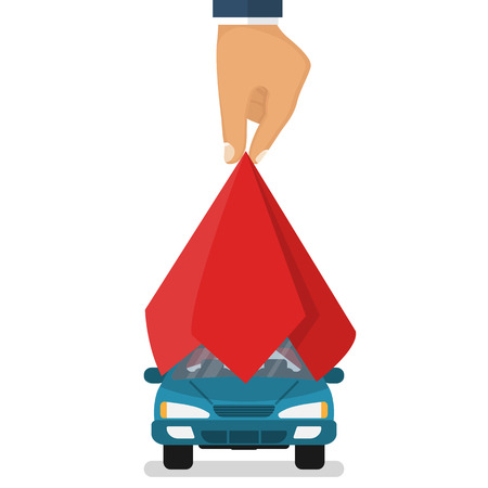 Presentation car. Auto covered red silk. Man hand take off cloth with vehicle. Vector illustration flat design. Isolated on white background. Showing surprise car. Exhibition new model.