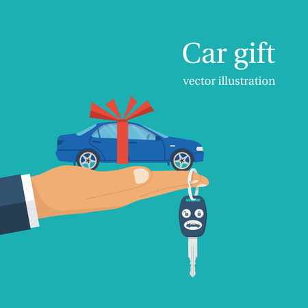 Car gift concept. Man holding in hand on palm auto with red ribbon. Vector illustration flat design. Best offer cars for sale, rent, template. Isolated on background. Presentation, show vehicle.