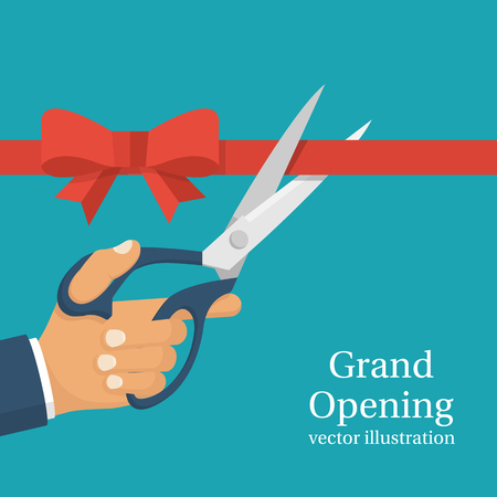 pair of scissors: Grand opening concept. Businessman holding pair of scissors in hand cuts red tape with bow. Vector illustration flat design.Isolated on background.Ceremony, celebration, presentation and event