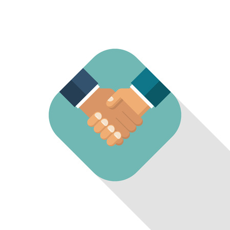 Handshake business icon. Symbol of a successful transaction. Partnership, meeting businessman. Vector illustration flat design. Isolated on white background with long shadow.