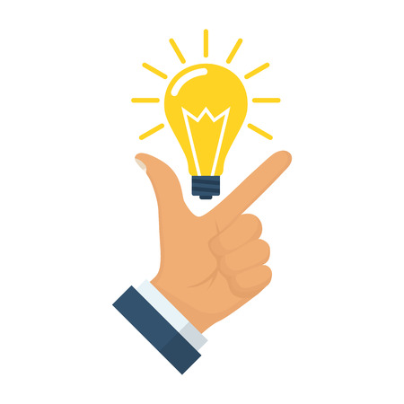 Pointing finger up on bulb as a symbol big idea. Having new creative idea. Problem solution metaphor. Vector illustration flat design. Isolated on background. Thinking processes. Hand gesture Like. Иллюстрация