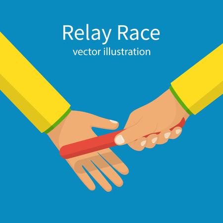 스포츠 릴레이 경주. 두 명의 선수가 손에서 손으로 배턴을 건네줍니다. 벡터 그림 평면 디자인입니다. 파란색 배경에 고립. 경쟁 개념입니다. 달성 공