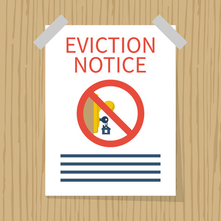 Eviction notice, white sheet on wall. Stop sign at the entrance. Key in keyhole on door prohibited. Do not open the door. Form vector illustration flat design. Isolated background.