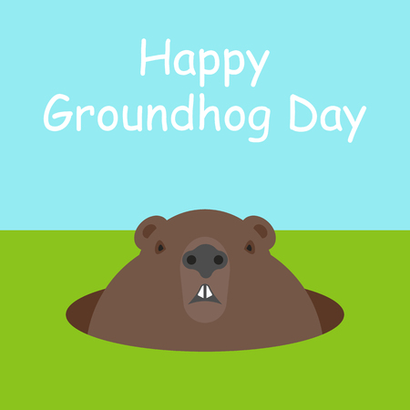 Happy Groundhog Day. Funny cute marmot looking out of a burrow. Rodent isolated on background. Woodchuck. Vector illustration minimal flat design.