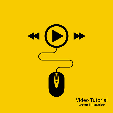 Video tutorial icon. Media marketing concept. Video conference, webinar, streaming. Vector illustration flat style design. Mouse connect to the player sign. Elearning on distance.