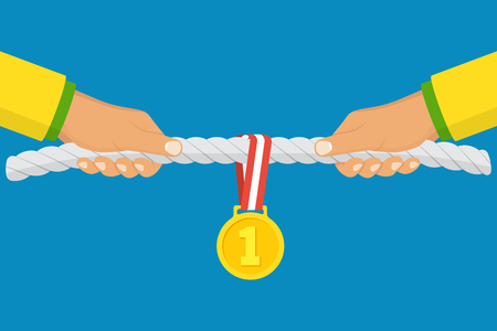 winning first: Sport competitions. Two athletes pull the rope, prize for winning first place and gold medal with ribbon. Vector illustration flat design. Isolated on background. Persistent struggle. Championship Stock Photo