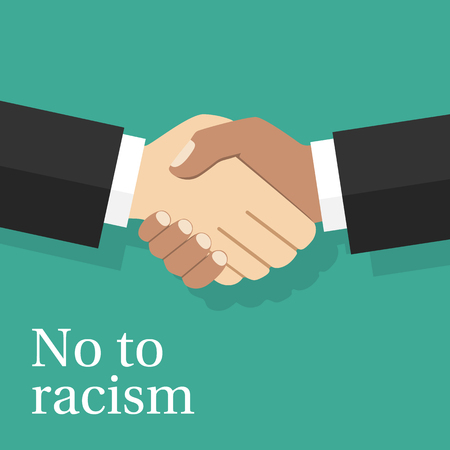 multi racial: No to racism concept. Handshake of two men of different nationalities.  Vector illustration flat design. Multiracial friendship of peoples.
