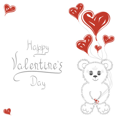 heartshaped: Abstract background. Cute teddy bear with balloons in the form of heart. For wedding invitations, the date, Valentines Day. It can be used as greeting card, poster, banner, template, postcard.
