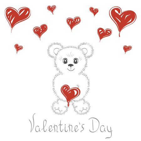 Abstract background. Cute teddy bear with hearts. Love cards wedding , Valentines Day, date. It can be used as greeting card, poster, banner, template, invitation.