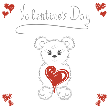 Abstract background. Cute teddy bear with a heart. Romantic love cards for wedding, Valentines Day, date. It can be used as greeting card, poster, banner, template, invitations.
