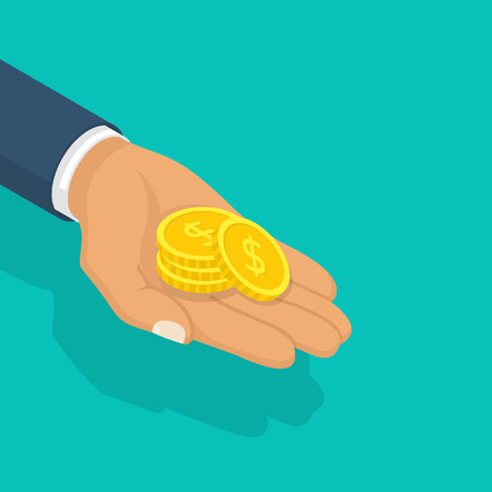 Gold coin in hand businessman isometric design. Vector illustration flat design. Isolated on background. Giving, receiving take money. Concept of charity, donate. Stack of coins.