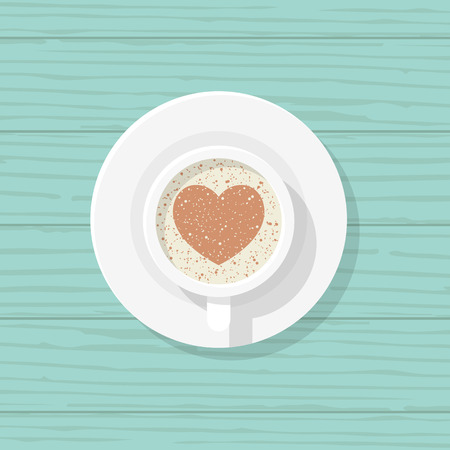 Cup of coffee with heart shape in a white cup isolated on wooden background. Heart from chocolate and foam. Vector illustration flat design. Romantic drink.