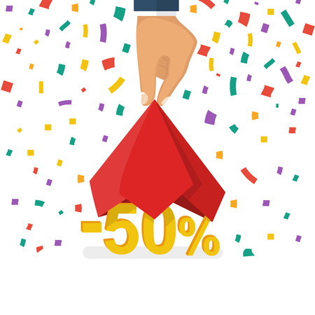Discounts opening concept. Man hold hand a red silk cloth, opening 50 percent discount. Colorful falling confetti isolated on white background. Vector illustration flat design. Big sale best offer.